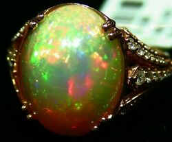 9.63CT 14K Gold Natural Ethiopian Opal Diamond Designer Halo Vintage Retro Ring