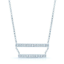 14k White Gold Diamond Double 2 Bar Pendant Necklace Natural Round Womens 0.69ct