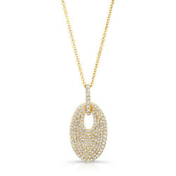 14k Yellow Gold Diamond Pave Oval Disc Pendant Necklace Natural Round 0.64 Ct