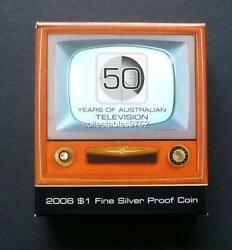 2006 50 Years Of Television One Dollar Silver Proof Coin