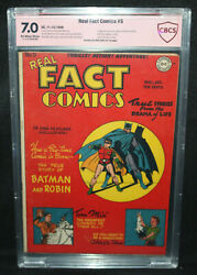 Real Fact Comics #5 - Signed by Bob Kane on 1st Page CBCS Verified Sig 7.0 - '46