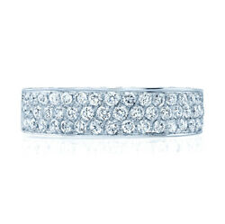 14k White Gold Diamond Ring Micro Pave Band Three Row Round Cut Cocktail Natural