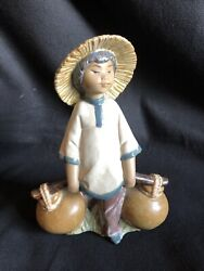 Lladro Gres Figurine Chinese Boy Carrying Water Jugs