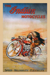1914 Fast Indian Motorcycle Bike Cycle Speed Flexibility Vintage Poster Repro
