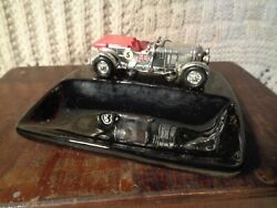 Vintage 1970's Silverplated Diecast 1929 Bentley Matchbox And Black Porcelain Dish