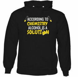Alcohol Is A Solution Mens Funny Slogan Hoodie Beer Humour Larger Party Bbq Top