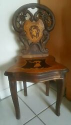 Black Forest 19th Century Child Musical Chair Made Switzerland Carved Wood