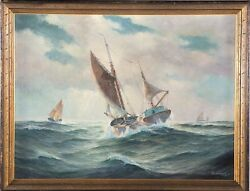 Amrbosark American, Early 20th Cen. Oil Painting Ship In Rough Seas C.1930's