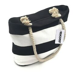 Black Striped Canvas Beach Bag Tote Soft Rope Handles inner pocket $16.99