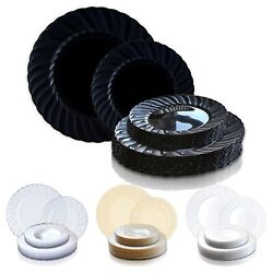 Round Flair Disposable Plastic Dinner Plates Wedding Party Value Sets 144 Pcs
