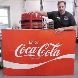 Large Metal Vintage Original Coca-cola Sign. Red And White. 44andrdquo X 66andrdquo. 1970s