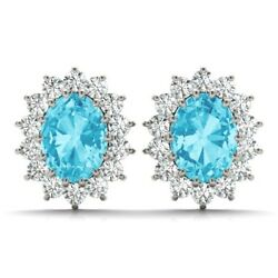 New 14k White Gold Diamond And Oval Cut Swiss Blue Topaz Halo Post Earrings