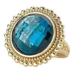 Ladies 14k Yellow Gold London Blue Topaz Rounc Checkered Cabochon Cocktail Ring