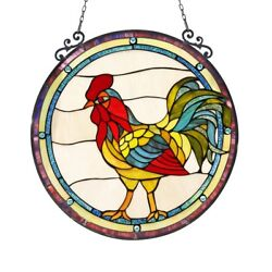 Stained Glass Rooster Round Window Panel Handcrafted Style 24 Across