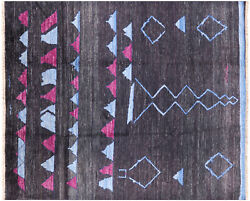 8and039 1 X 9and039 10 Signed Moroccan Hand Knotted Rug - P6358