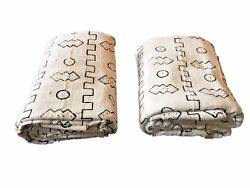 African Large Black And White Mud Cloth Textiles Mali 90 By 62 Pair