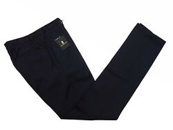Marco Pescarolo Trousers 30 Washed Navy Blue, Flat Front, Washed Wool