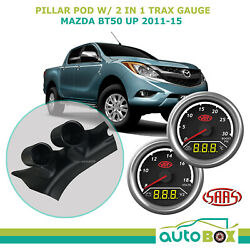 2011-15 Mazda Bt50 Up Pillar Pod W/ 2in1 Boost Ext Temp And Dual Volts Gauge