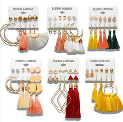 6Pairs Boho Tassel Crystal Pearl Earrings Set Women Ear Stud Dangle Jewelry Gift $3.59