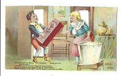 Old Die Cut Trade Card Knappand039s Root Beer Imitation Rejected Two Sided Happy Mom