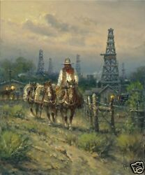 Oil Field Cowhand 24 X 20 Giclee Canvas Edition Of 350 By G. Harvey