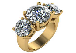 7.75 ct I VVS2 round diamond engagement wedding ring set 18k yellow gold size 6