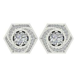 Studs Earrings Removable Jacket I1 G 2.10 Carat Natural Round Diamond White Gold