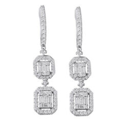 New 14k White Gold Round And Baguette Diamond Dangling Vintage Design Earrings