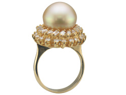 Estate 18k Yellow Gold Golden Pearl And Diamond Cocktail Ring Size 6.5