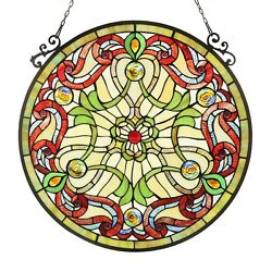 Style Stained Glass 23.4 Round Window Panel Handcrafted Victorian