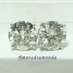 10.04 ct H SI2 natural genuine round brilliant diamond studs earrings gold
