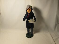 Byers Choice Rare 1982 Traditional Man With Navy Blue Coat And Bumpy Base