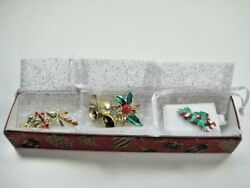 Silver Candy Cane Jingle Bell Holly Reindeer Rhinestone Ornament Pin Brooch Lot