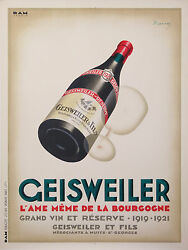 Marton Lajos - Vintage Wine Poster Geisweiler The Soul Of Bourgogne  Ci.1930