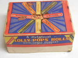 Vintage 1930s Wool Candy Company Chicago Il Lolly Pops Rolls Box