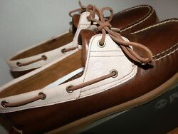 Men's TIMBERLAND 2eye Handsewn Classic Boat Shoes Brown Style# TB0A1B85 Size 13