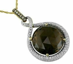 14.69ct White And Mocha Diamond And Aaa Smoky Topaz 14k Yellow Gold 3d Round Pendant