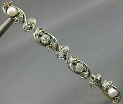 Antique 1.0ct Old Mine Diamond And Pearl 14k White Gold Flower Pin Brooch 19162