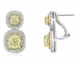 LARGE 3.99CT WHITE & FANCY YELLOW DIAMOND 18KT 2 TONE GOLD HALO HANGING EARRINGS