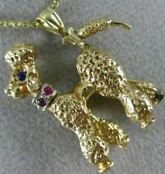 Estate Aaa Blue And Pink Sapphire 14kt Two Tone Gold 3d Poodle Dog Pendant 20990
