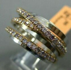 Estate Wide 1.0ct Pink Diamond 18kt White And Rose Gold Multi Row Criss Cross Ring