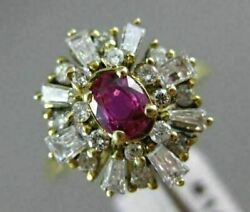 Antique Large 1.0ct Diamond And Aaa Ruby 14kt Yellow Gold 3d Cocktail Ring 14x13