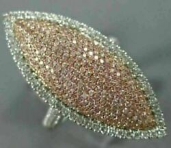 Estate Large 1.0ct White And Pink Diamond 18k White And Rose Gold Marquise Halo Ring