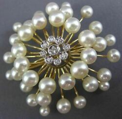 Estate Large .18ct Diamond And Aaa South Sea Pearl 14kt Yellow Gold Flower Brooch