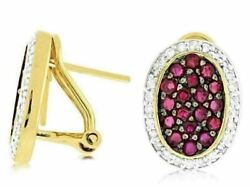 Estate 1.88ct Diamond And Aaa Ruby 14kt Yellow Gold Oval Cluster Clip On Earrings