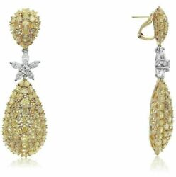 LARGE 27.22CT WHITE & FANCY YELLOW DIAMOND 18K TWO TONE GOLD 3D HANGING EARRINGS