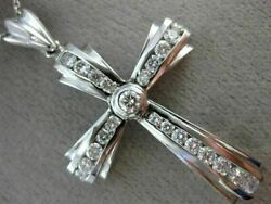 Estate Large 1.40ct Diamond 14kt White Gold 3d Handcrafted Cross Pendant 17320