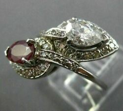 Estate Large 1.75ct Diamond And Aaa Ruby 14kt White Gold 3d Leaf Criss Cross Ring