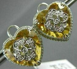 Estate Extra Large 15.37ct Diamond And Aaa Yellow Topaz 14k White Gold 3d Earrings