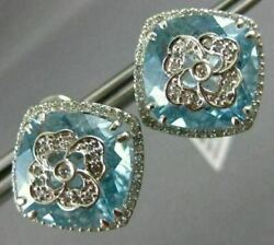 Estate Large 20.31ct Diamond And Aaa Blue Topaz 14k White Gold 3d Clip On Earrings